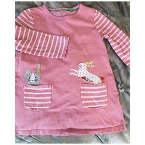 Mini Boden Shell Pink Bunnies Dress Tunic 5/6 Y